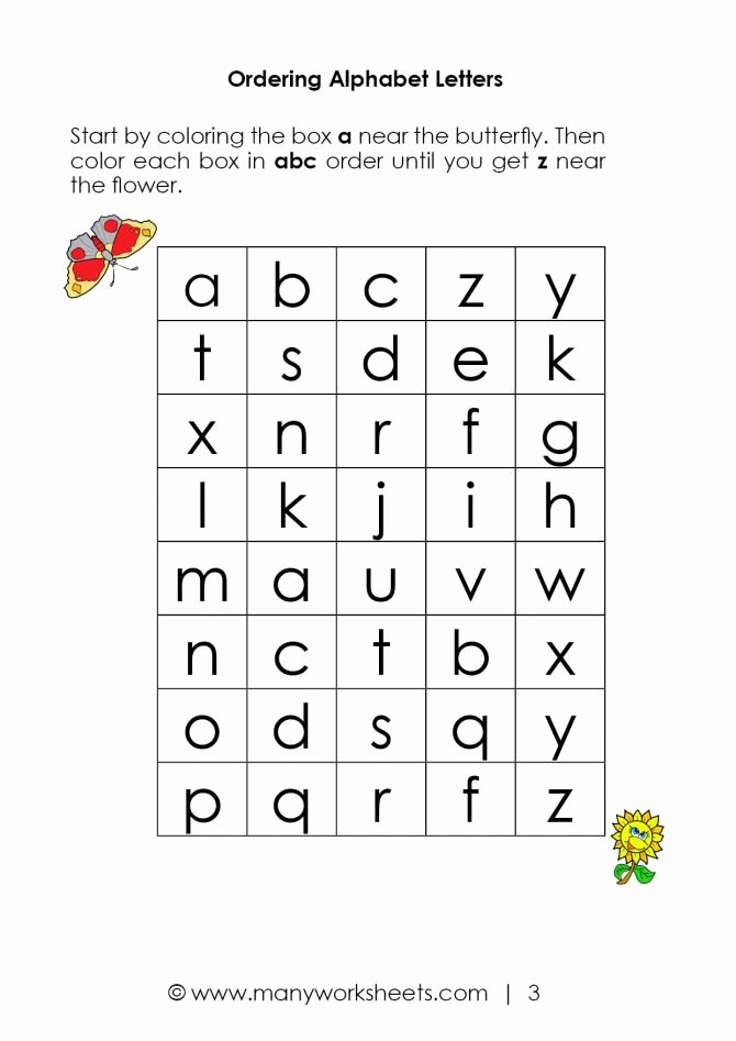 Printable Abc order Worksheets Printable Letter Worksheets for Year Olds Free
