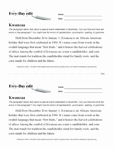 Printable Capitalization Worksheets Capitalization and Punctuation Worksheets Daily Paragraph