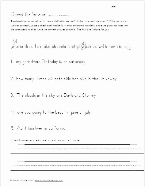 Printable Capitalization Worksheets Using Mas In Dates and Addresses Writing Dates Worksheet