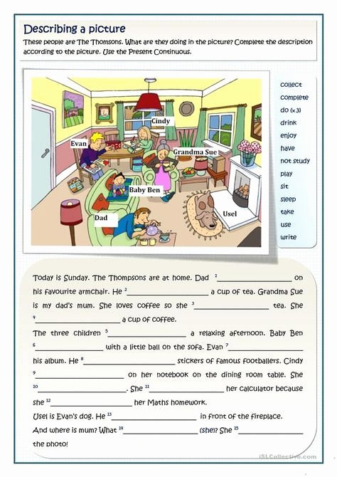 Printable Computer Worksheets the Thomsons Present Continuous 2 Levels