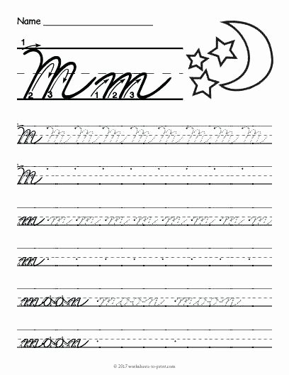 free printable cursive m worksheet writing worksheets lowercase handwriting pdf