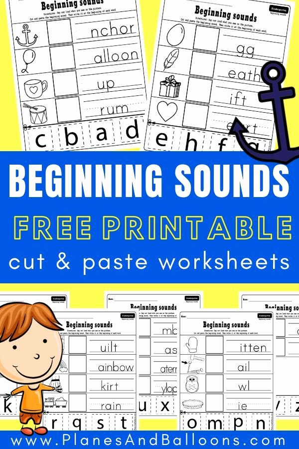 Printable Cutting Worksheets for Preschoolers Beginning sounds Cut and Paste Worksheets