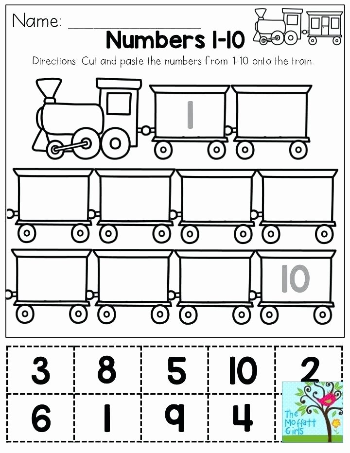 Printable Cutting Worksheets for Preschoolers Printable Numbers 1 10 Math Cut and Paste Numbers You