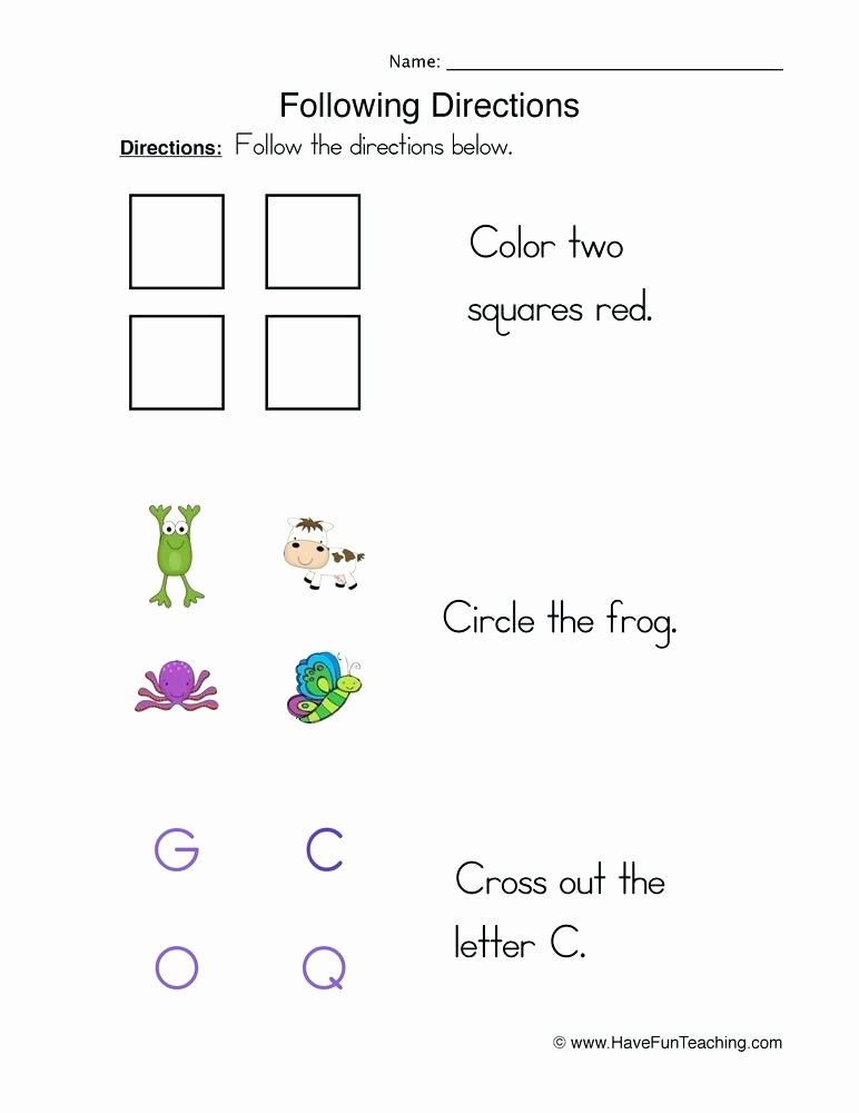 Printable Following Directions Worksheet Following Directions Worksheet 1 Elementary Students Tasks