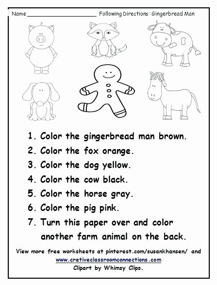 Printable Following Directions Worksheet Free Printable Following Directions Worksheets Giving Kids