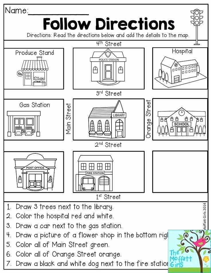 Printable Following Directions Worksheet Fun Worksheets for 2nd Grade