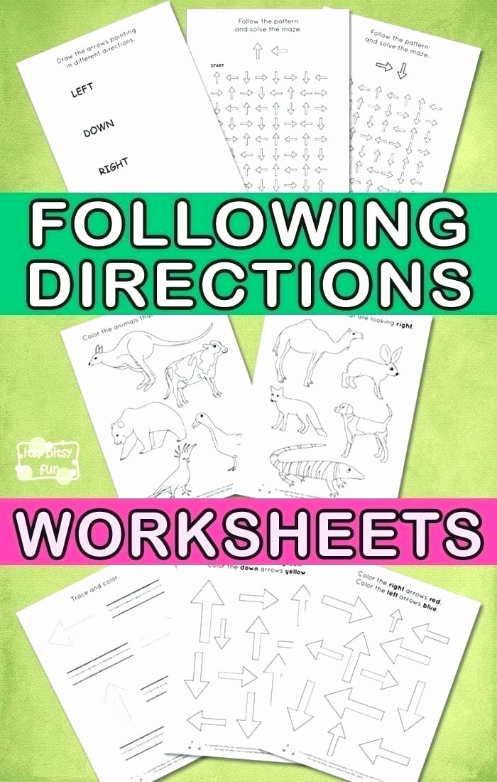 Printable Following Directions Worksheet Printable Worksheets for Elementary Students