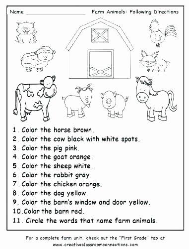 Printable Following Directions Worksheet Sea Animals Worksheets for Preschoolers Coloring