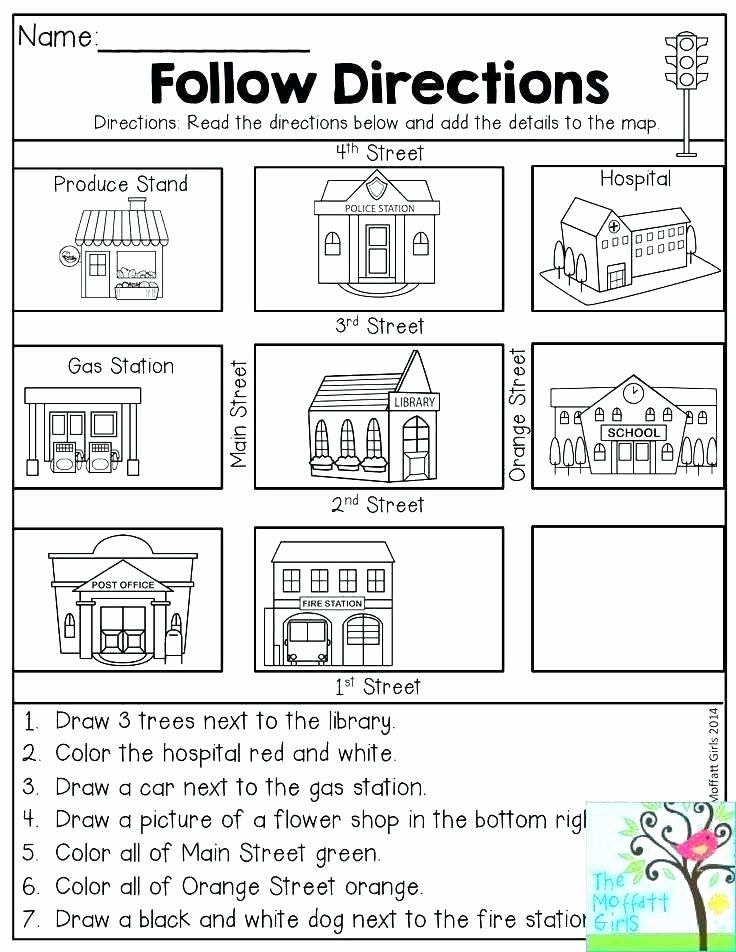 Printable Following Directions Worksheets Activity Worksheets for Middle School