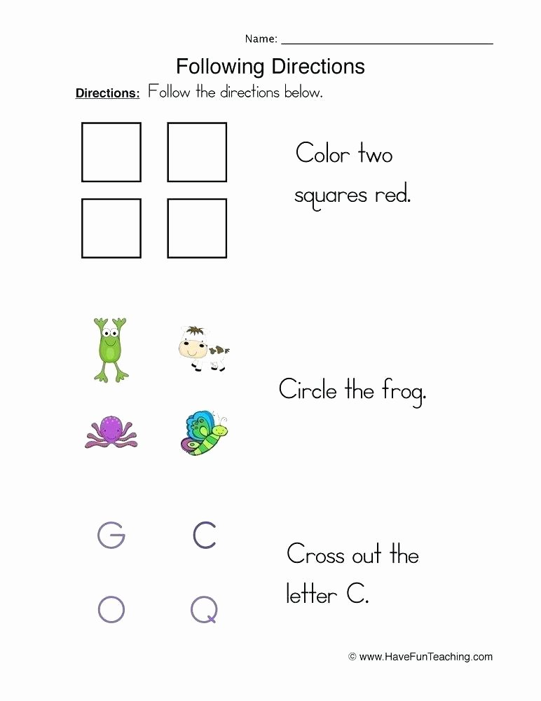 Printable Following Directions Worksheets Free Following Directions Worksheets Printable Grade