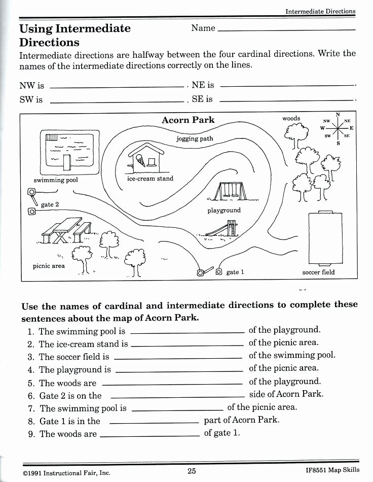 Printable Following Directions Worksheets Maps Worksheets Maps Worksheets Cardinal Directions Map