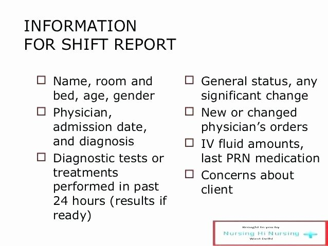Printable Nurse Report Sheets Nursing Shift Report Template New Beautiful Sheet Example T