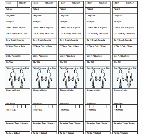 Printable Nurse Report Sheets the Ultimate Nursing Brain Sheet Database 33 Nurse Report