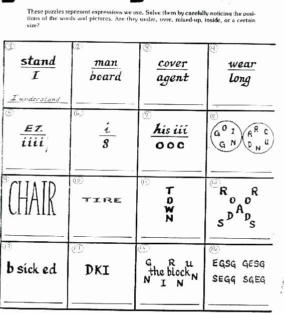 Printable Rebus Brain Teasers Logic Puzzles Printable Worksheets Brain Teaser Worksheet
