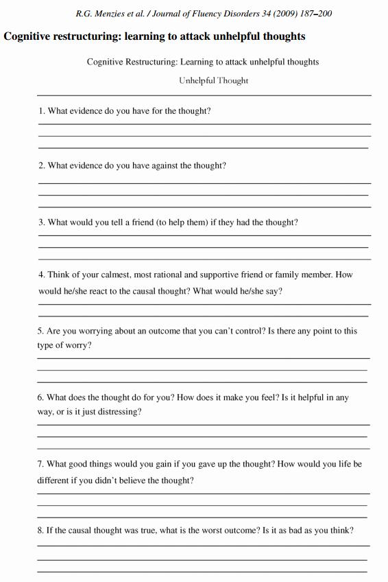 Printable Self Esteem Worksheets Cbt Worksheet Redefiningbodyimage This Looks Like A