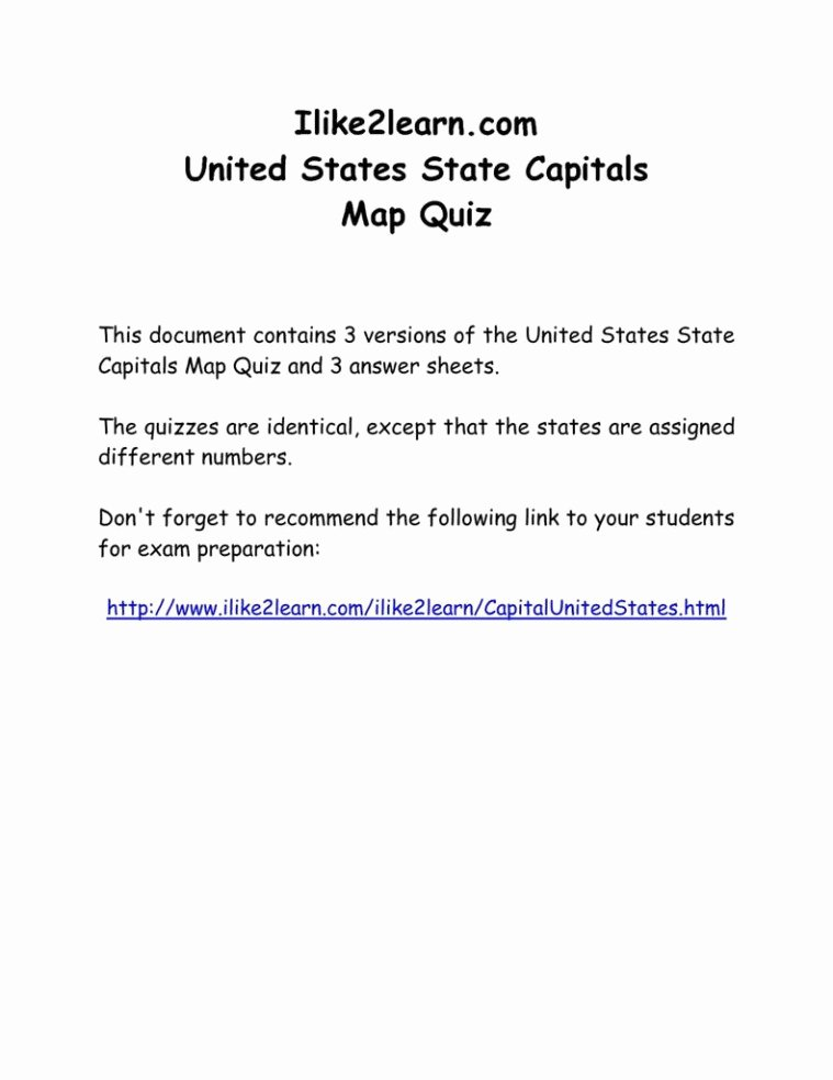 Printable State Capitals Quiz United States Capitals Map Climatejourney