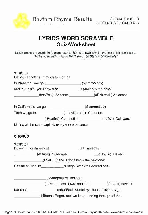Printable States and Capitals Quiz 50 States Printable Worksheets