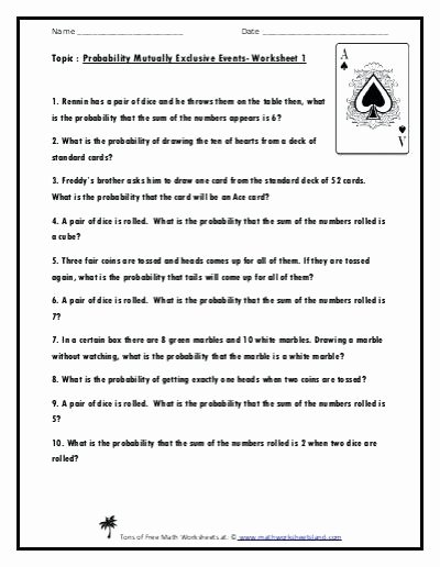 Probability Worksheet 5th Grade Probability Pound events Worksheet with Answers