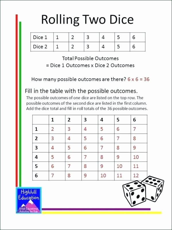 Probability Worksheet 6th Grade Basic Probability Worksheets Activities Grade Math Printable