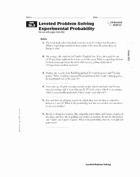 Probability Worksheet 6th Grade Probability Worksheets 6th Grade
