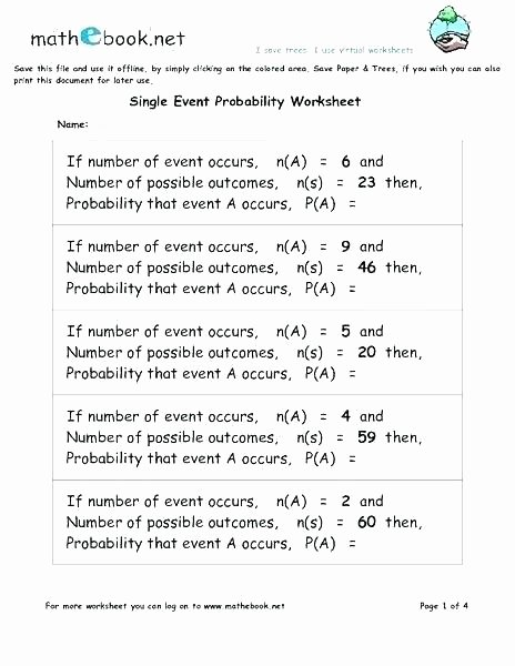 Probability Worksheet 6th Grade Probability Worksheets