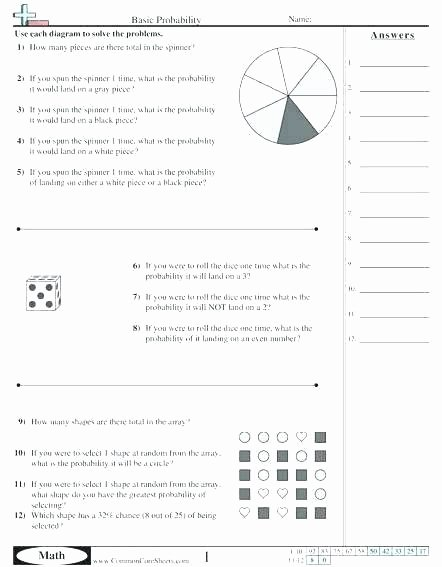 Probability Worksheet with Answers Pdf Lovely theoretical Probability Worksheets Grade Math 8 and Free