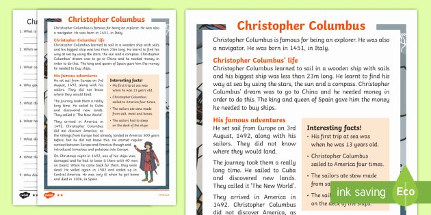 Problem solving and Comprehension Christopher Columbus Explorer Differentiated Reading
