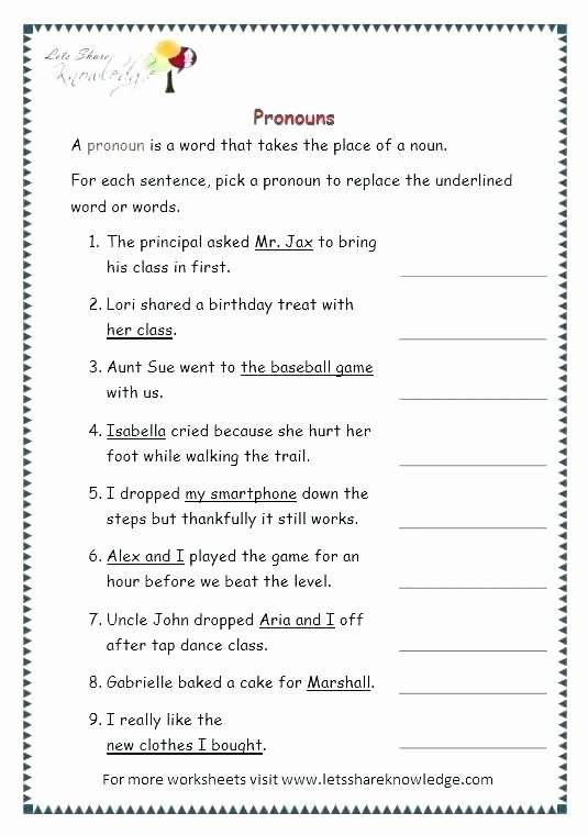 Pronoun Worksheet for 2nd Grade Personal and Possessive Pronouns Worksheets – Openlayers