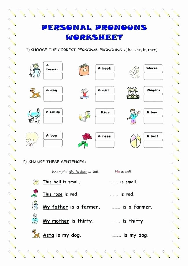 Pronoun Worksheet for 2nd Grade Subject and Object Pronouns Worksheet Unique Pronoun