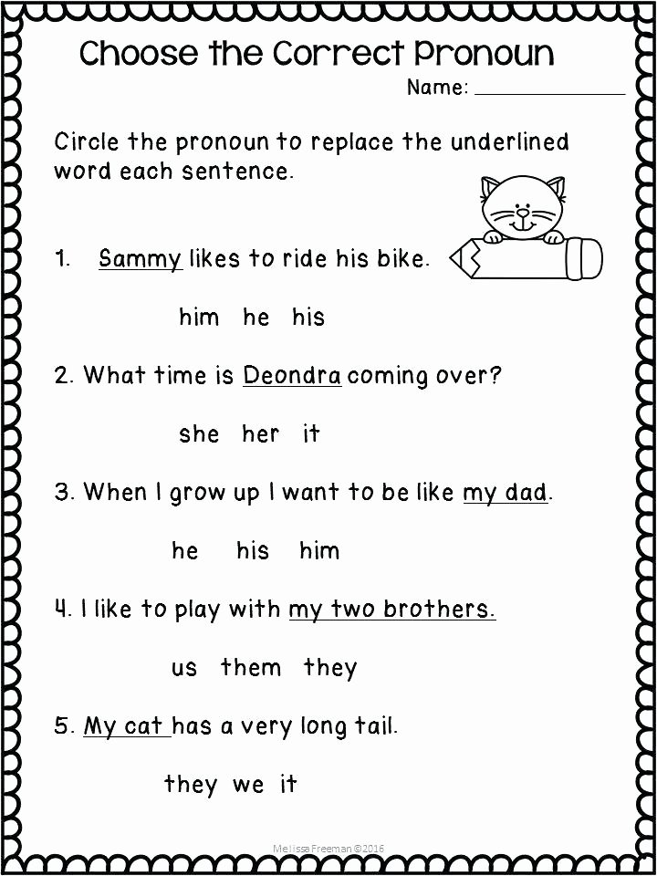 Pronoun Worksheets 5th Grade Free Pronoun Worksheets Agreement Definition Picture New