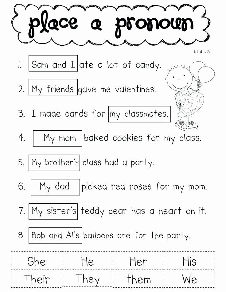 Pronoun Worksheets 5th Grade Pronoun Worksheets Grade Elegant I and Me Personal Pronouns