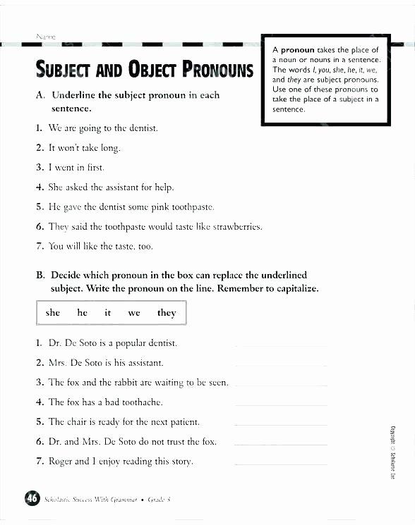 Pronoun Worksheets 5th Grade Subject Object Pronoun Worksheets Grade Verb Agreement