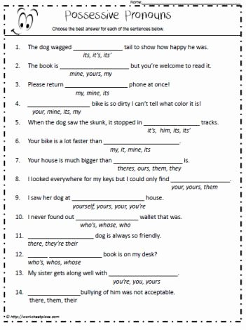 Pronoun Worksheets 5th Grade Worksheet Possessive Nouns 5th Grade