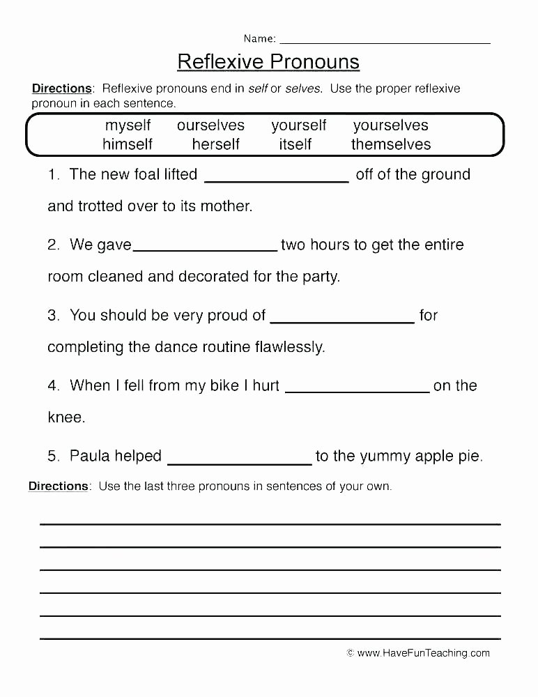Pronoun Worksheets for 2nd Grade Personal and Possessive Pronouns Worksheets – Openlayers