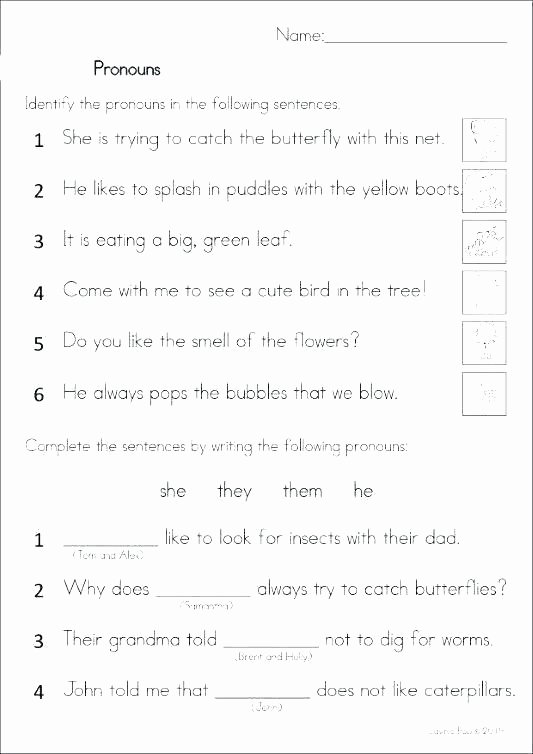 Pronoun Worksheets for 2nd Graders Grade Adjective Worksheets Synonyms for 1 Second Doodle Practice
