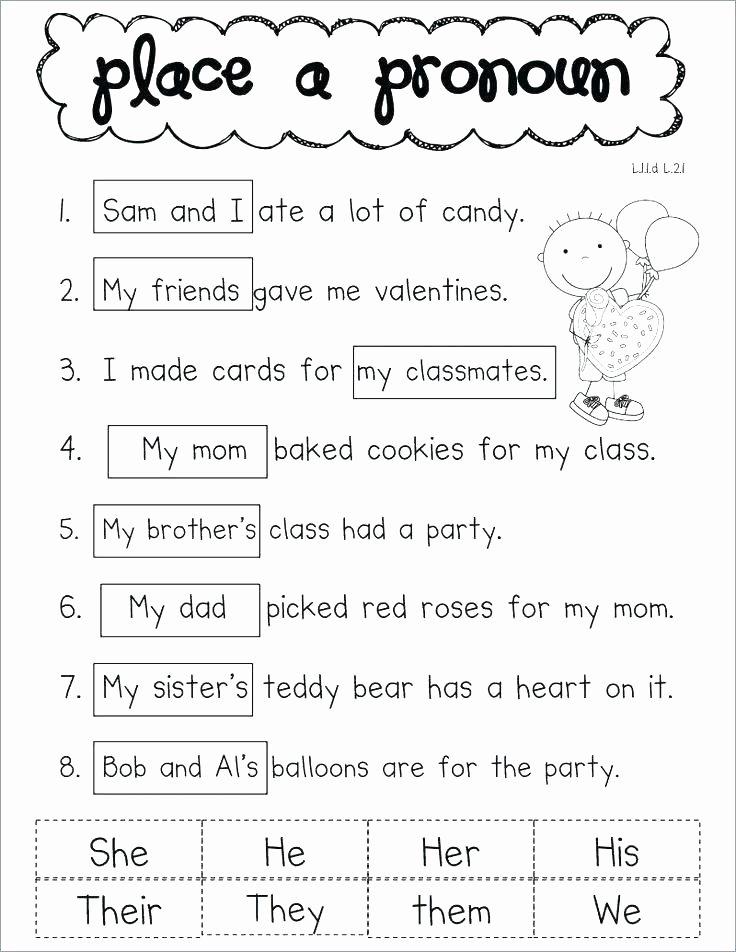 Pronoun Worksheets for Kindergarten Free Subject Pronoun Worksheets for Grade 2