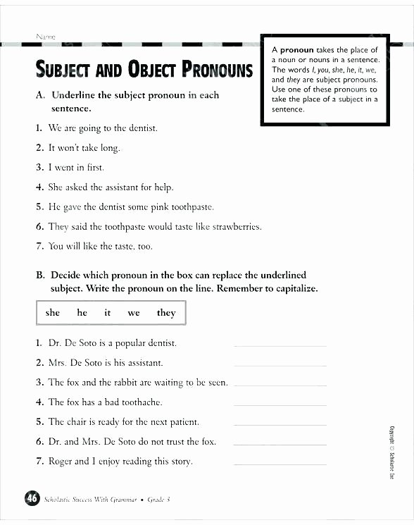 Pronoun Worksheets Second Grade Pronoun Worksheets for Grade 3 Free Subject and Object