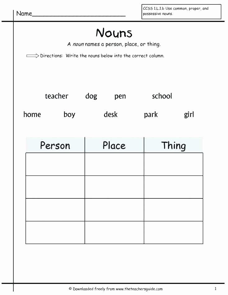 Pronouns Worksheet 2nd Grade Possessive Nouns Worksheets 5th Grade Printable Noun