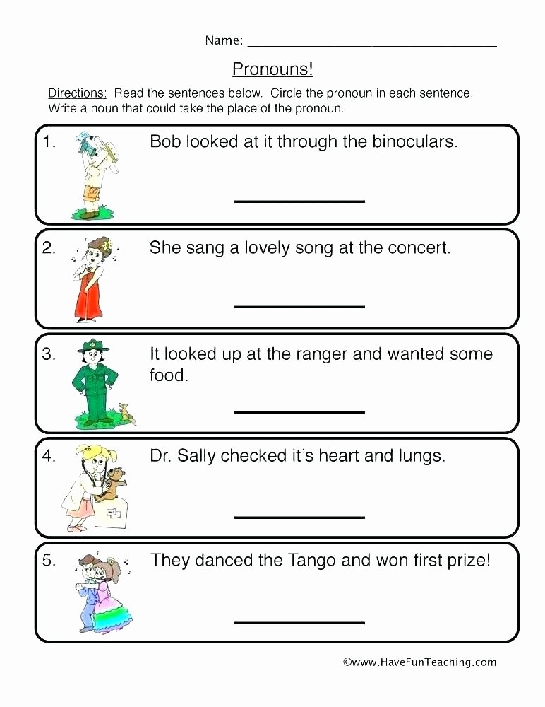 Pronouns Worksheet 2nd Grade Possessive Nouns Worksheets Grade to Learning A Free