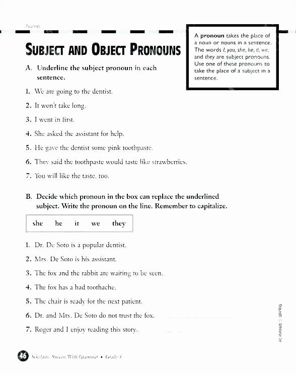 Pronouns Worksheets 5th Grade Free Printable Pronoun Worksheets