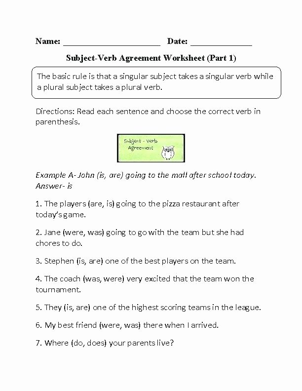 Pronouns Worksheets 5th Grade Subject Verb Agreement Examples Simple Worksheets Present