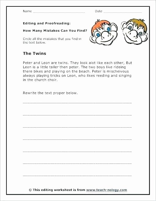 Proofreading Practice Middle School Editing and Proofreading Worksheets