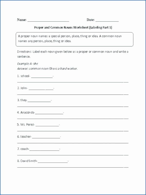 Proper Nouns Worksheet 2nd Grade Worksheets Identifying Proper and Noun Worksheet Mon
