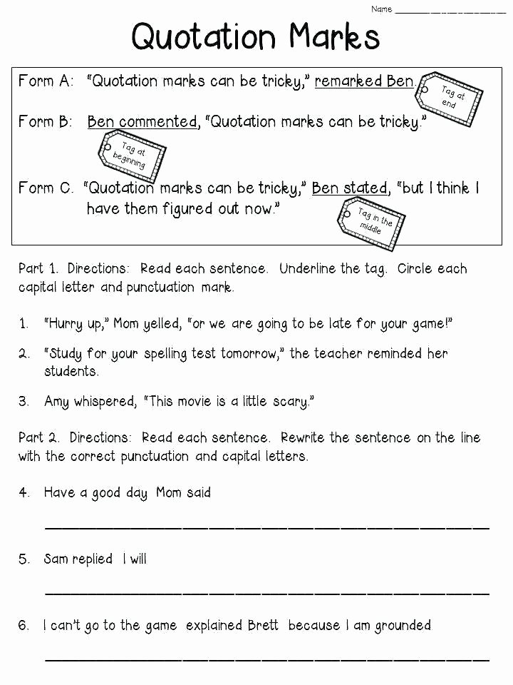 Punctuation Worksheets 5th Grade Fifth Grade Proofreading Worksheets