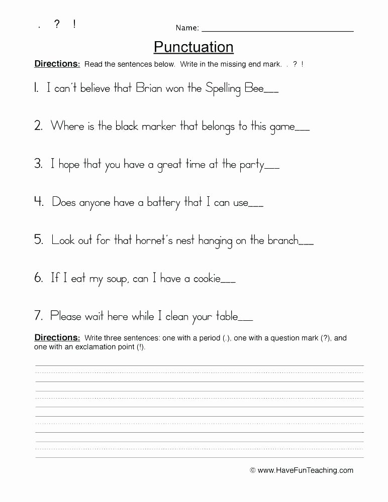 Punctuation Worksheets 5th Grade Grade Punctuation Free N Worksheets Editing for 6 End