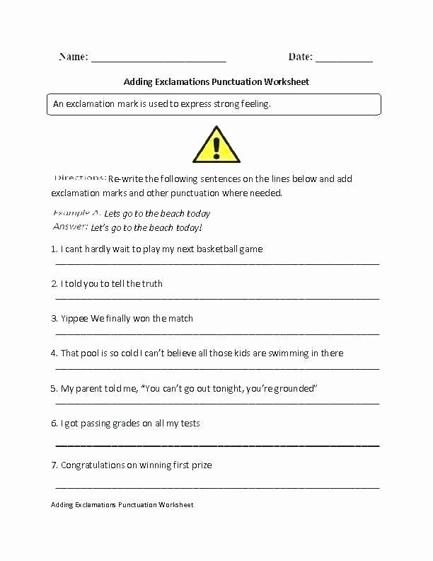 Punctuation Worksheets 5th Grade Punctuation Worksheets Basic Exclamation Marks Worksheet