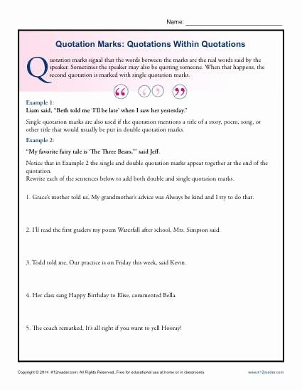 Punctuation Worksheets 5th Grade Quotation Marks Quotations within Quotations