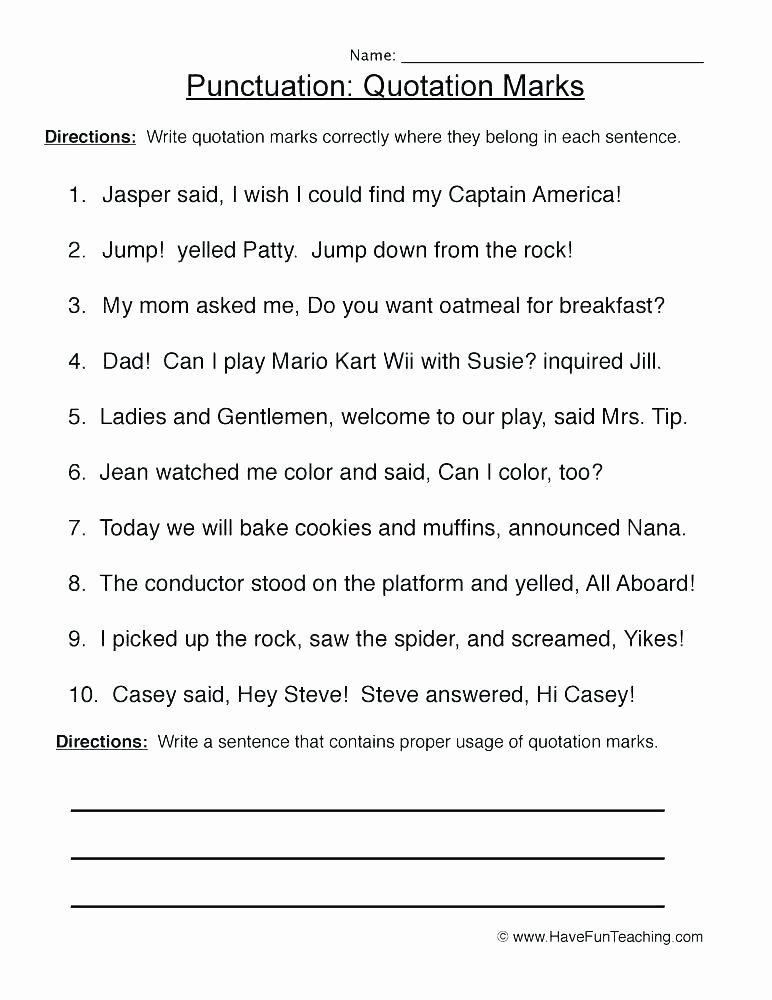 Punctuation Worksheets for Kindergarten Sat Punctuation Worksheets with Answers