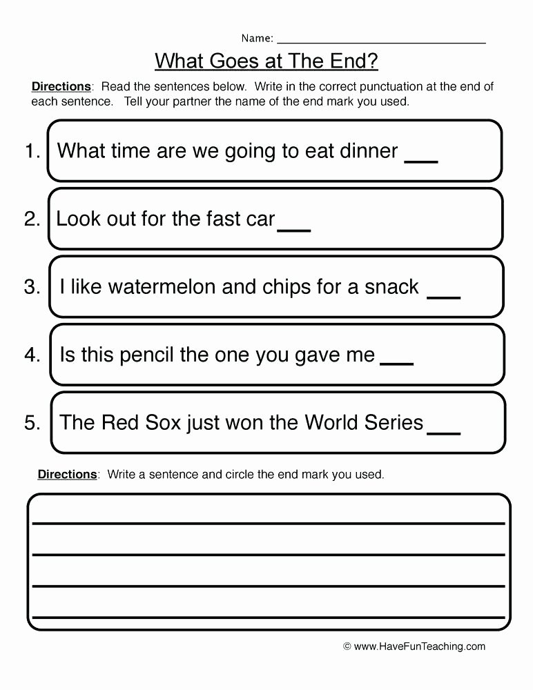 Punctuation Worksheets for Kindergarten Writing Punctuation Worksheets