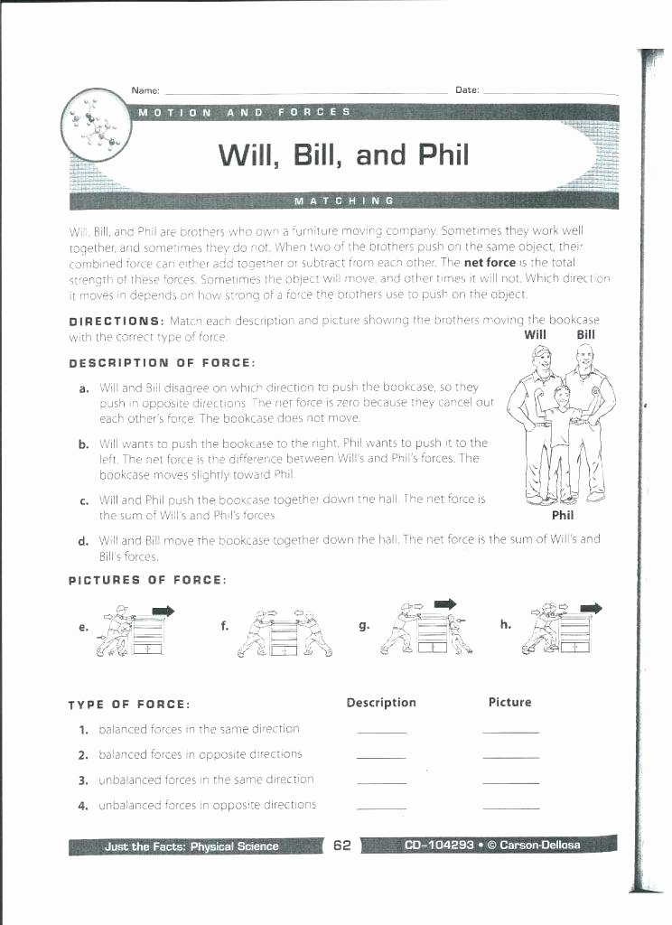 Push and Pull Worksheets Electricity Worksheets Bill Static Worksheet Free 4th Grade